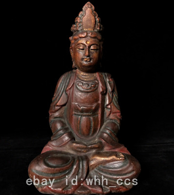 "10.8"" old China antique Aloes wood Carve Guanyin Buddha statue"