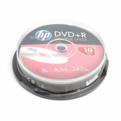 10 HP Double Layer DL 8x Rohlinge DVD+R 8,5 GB Cakebox Neuware