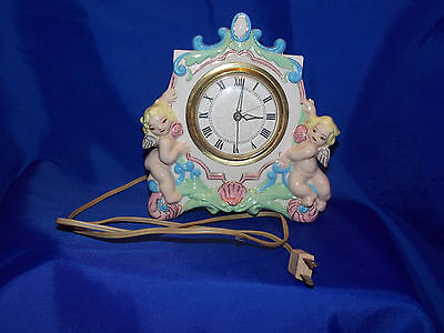 Vintage Lanshire Electric Angel Cherub Mantel Clock  - Alarm Button is Missing