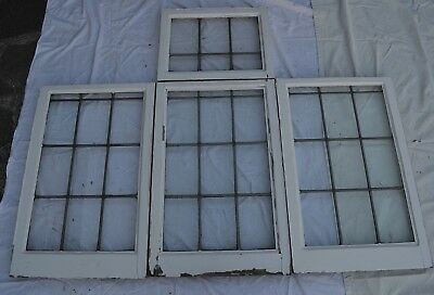 4 British plain leaded light stained glass window sashes R813c.