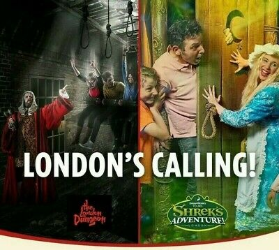 2 x E-tickets for Shrek Adventure or London Dungeon - Pick Your Date Choose READ