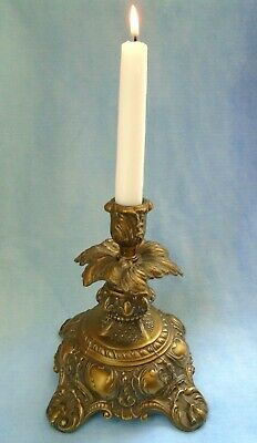 Vintage Cambridge Ornate Footed Gold Tone Metal Single Taper Candle Holder