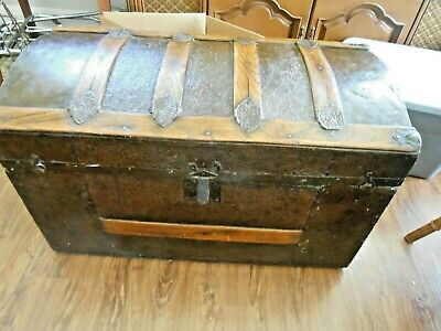 Antique Vintage Rolling Dome Top Wood Metal Covered Trunk, New Leather Handles!