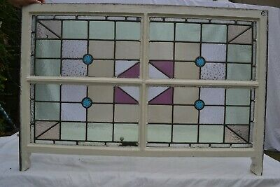 British leaded light stained glass window sash. R820e. WORLDWIDE DELIVERY