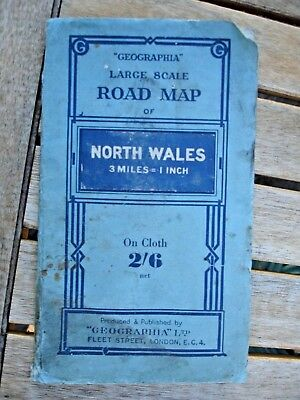 Geographia Large Scale Cloth Road Map Of North Wales Price 2/6 3 Milesto 1 Inch