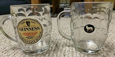 2 NEW Dimpled Glass Beer Mugs GUINNESS St James's Gate Dublin & YOUNG'S Brewery