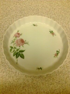 Christineholm Flan Quiche Pie Tart Dish Porcelain Fluted 24 cm PINK ROSE BUDS