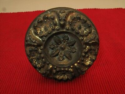 """Antique Victorian Bass Plated Curtain Tie Back Ornate 19Th C 3 1/2"""" D Floral"""