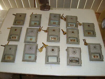 "Lot of 14. Vintage Post Office Box PO Box Door 3 5/8"" by 5"" with Glass Keys"