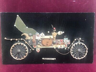 Folk  Art 1912 FIAT vintage handcrafted latches and lock Car Art Picture