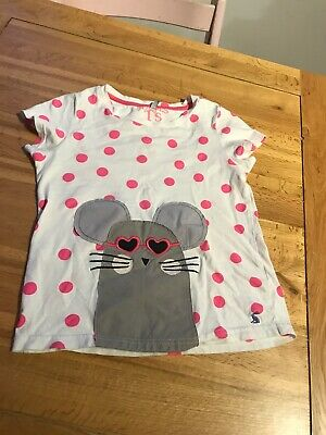 Joules girls white with bright pink spots/mouse motif t-shirt9-10 yrs small 8-9