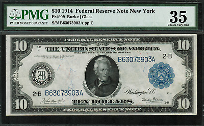 1914 $10 Federal Reserve Note New York FR-909 - Graded PMG 35 Choice Very Fine