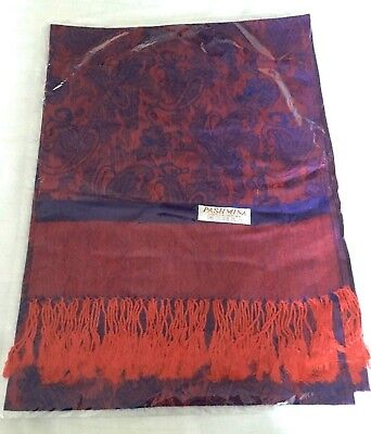 BNIP * RED & BLUE PAISLEY PASHMINA SHAWL SCARF STOLE WRAP- Fab Womens Girls Gift