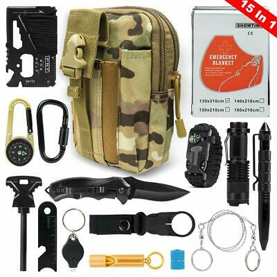 Outdoor Survival Gear Kit Camping Fishing Hiking Tools Emergency Accessories Set