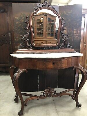 Victorian Marble Top Vanity With Mirror