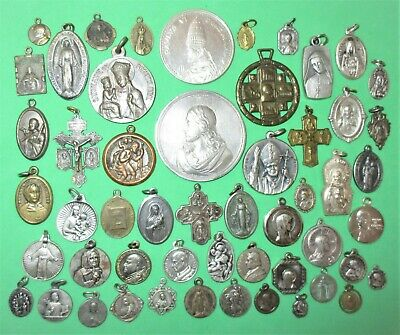 Antique & Vintage Lot (53) Catholic Medals Charms Pendants Scapulars All Metal