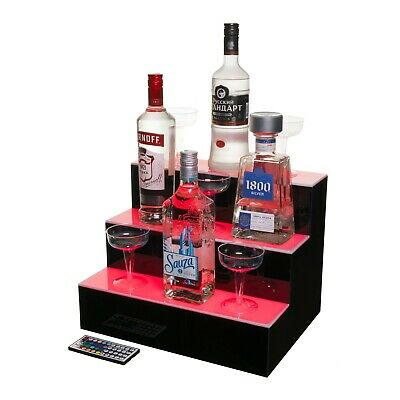 LED Lighted Liquor Bottle Display Illuminated Bottle Shelf 3 Tier! Home Bar Bott