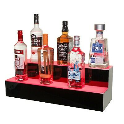 LED Lighted Liquor Bottle Display Illuminated Bottle Shelf 2 Tier! Home Bar Bott
