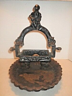 Antique Cast Iron Black Americana Vintage Shoe Shine Boot Scraper With Tray