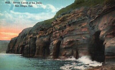 Seven Caves at La Jolla, San Diego, CA, Unused Antique Vintage Postcard g2743