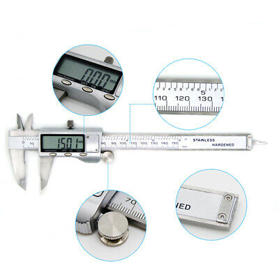 150 200mm Measuring LCD Digital Display Calipers Stainless Steel Vernier Caliper