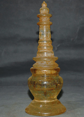 """9"""" Antique Old Tibet Buddhism Crystal Hand Carved Stupa Pagoda Tower Statue"""