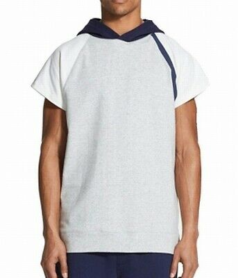 DKNY NEW Heather Gray Navy Mens Size Large L Short-Sleeve Hoodie $69 088