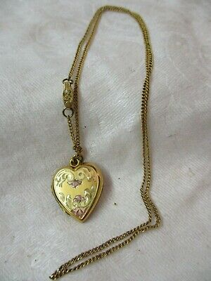 Vintage gold plated Heart Locket with 1/20 10K chain mono To Irene Love Johnnie