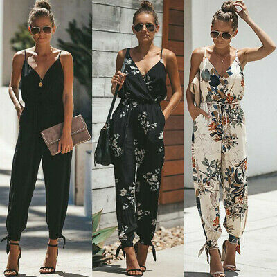 AU Fashion Women Floral Baggy Trousers Overalls Pants Solid Romper Jumpsuit New