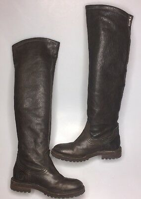 64c4ef093 Catarina Martins Thigh High Boots Tall Brown Leather Women's Size 36 5  Riding