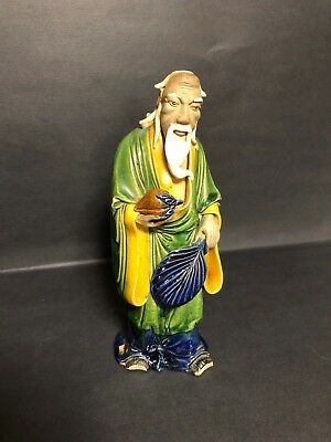 Antique Old Chinese Mudman Mud Man Clay Ceramic Sculpture Figurine Signed China!