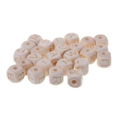 12mm Baby Teething Wood Letter Beads DIY Craft Accessories Chew Wooden Bead