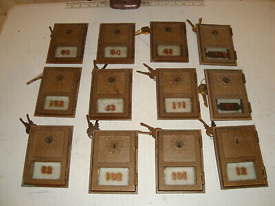 "Lot of 12. Vintage Post Office Box PO Box Door 3 5/8"" by 5"" with Glass Keys"