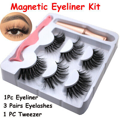 SKONHED 3 Pairs Magnetic Eyelashes With 1Pc Magnetic Eyeliner and Tweezer Set A+