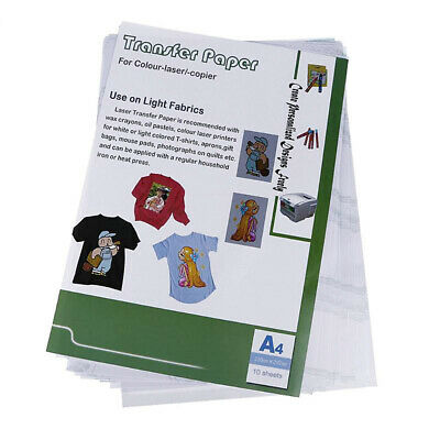 10 pcs A4 Sheet Laser Heat Transfer Paper T-shirt Cup Iron on Thermal Hollow DIY