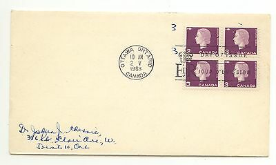 Canada FDC #403 Queen Elizabeth Cameo Issue Scarce Block of 4 1963 Defin D069