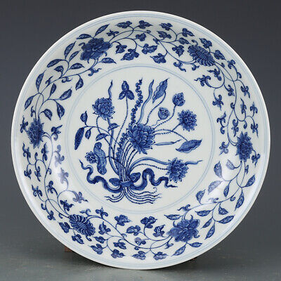 Vivid Old Chinese Antique Ming Blue White Porcelain lotus Plate