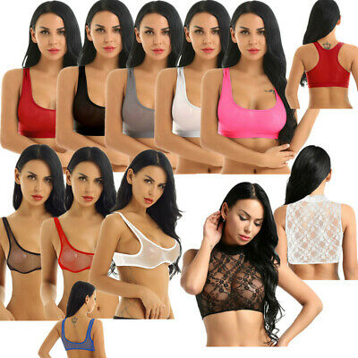 Ladies Women See Through Stretch Vest Bra Crop Top Tank Top T Shirt Tee Lingerie