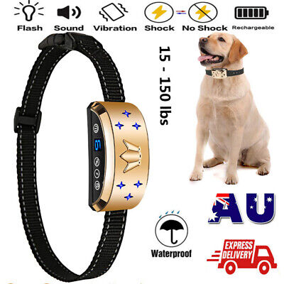 Upgrade Rechargeable Anti No Bark Shock Dog Trainer Stop Barking Pet Collars AU