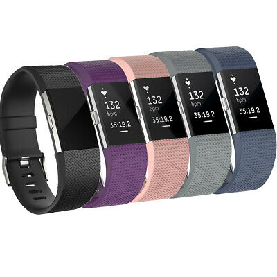 For Fitbit Charge 2 Soft Silicone Watch Strap Wrist Band Large Small Replacement