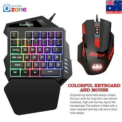 8 Color RGB Keyboard Mouse Set Bundle Anti-Slip USB For PS4 Xbox One 360 Gaming