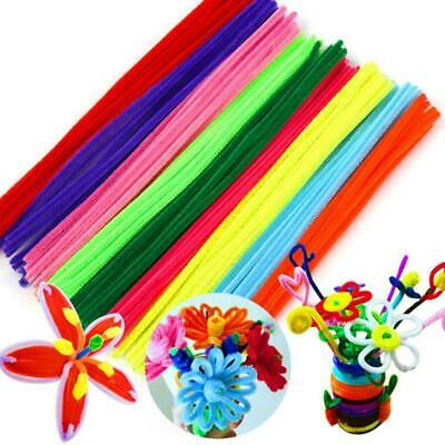 100 Pipe Chenille Sticks Cleaners Stems Assorted Plain Colours Puzzl K1S3 C P6D3