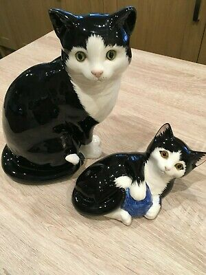 Just Cats & Co 2 x Black & White Cat Figurines - Made in Britain.