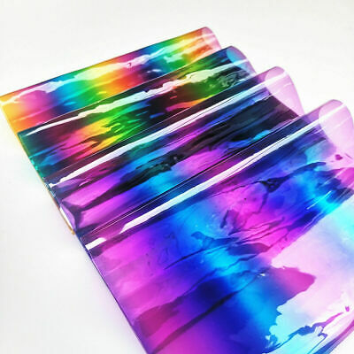 Iridescent Gradient Rainbow Clear Transparent PVC Fabric Vinyl Film Bags Craft