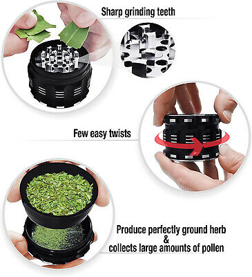 "Tobacco Herb Spice Grinder 2.5"" 4 Piece Chromium Crusher Metal Aluminum Black"