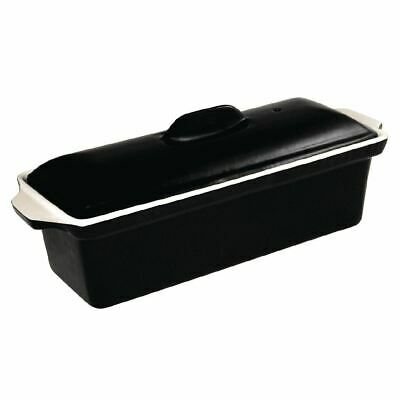 Vogue Pate Terrine Made of Cast Iron in Black - Non Stick Baking Dish 2L