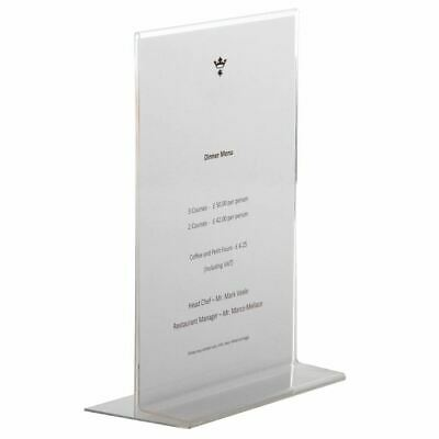 Olympia Double Sided Upright Menu Holder Freestanding in Acrylic - A4