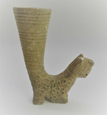 Very Rare Circa 4Th Century Bc Ancient Persian Rock Crystal Carved Rhyton