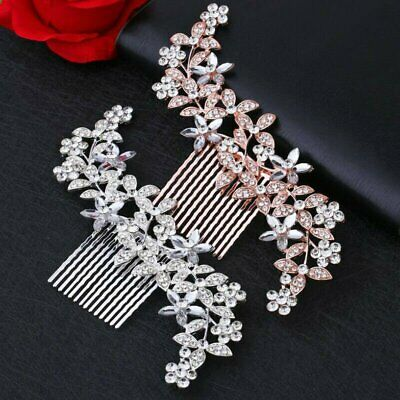 Flower Wedding Bridal Hair accessories Comb Clips piece Crystal Diamante EG