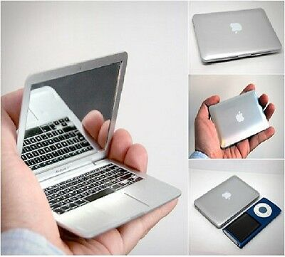 COMPACT MIRROR SILVER / WHITE with Defects APPLE MAC BOOK AIR LAPTOP NOVELTY